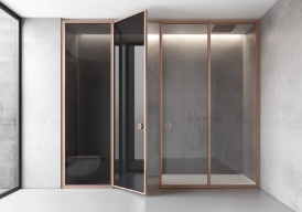 The Suite system can be customised with Securplus grey satin glass (laminated safety glass) and a copper satin finished frame or with Securplus grey glass and a copper satin frame