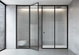 The Suite system can be customised with Securplus Reeded glass (laminated safety glass) and a gunmetal finished frame